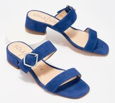 Sole Society Leather Heeled Sandals with Buckle - Emberlise