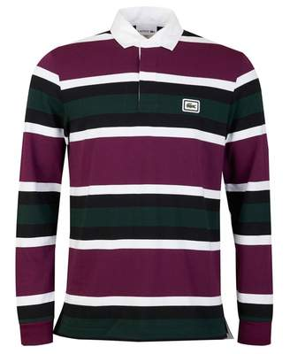 Lacoste Striped Heavy Rugby Polo Shirt Colour: Green Purple White, Siz