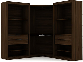 Manhattan Comfort Set Of 3 Mulberry Open 3-Sectional Corner Closets