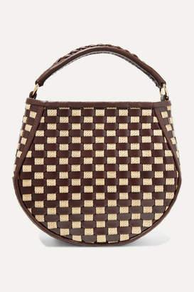 Wandler Corsa Mini Woven Leather And Raffia Tote - Burgundy