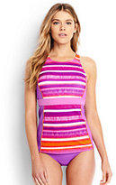 Classic Women's D-Cup High-neck Tankini Top-Berry Stripe/Fresh Orchid