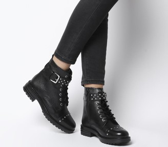 Office Alpaca Buckle Lace up Biker Boots Black Leather Silver Studs