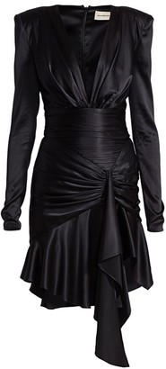 Alexandre Vauthier Satin Deep V-Neck Ruffled Mini Dress
