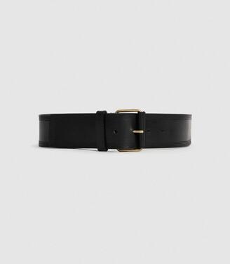Reiss Lou - Leather Waist Belt in Black