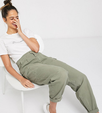 New Look Tall balloon leg utility trousers in khaki