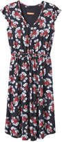Joe Fresh Women's Floral Flutter Sleeve Dress, Navy (Size M)