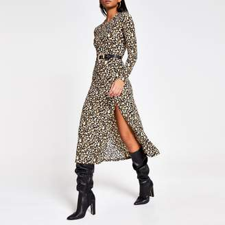 River Island Womens Beige leopard print A line midi dress
