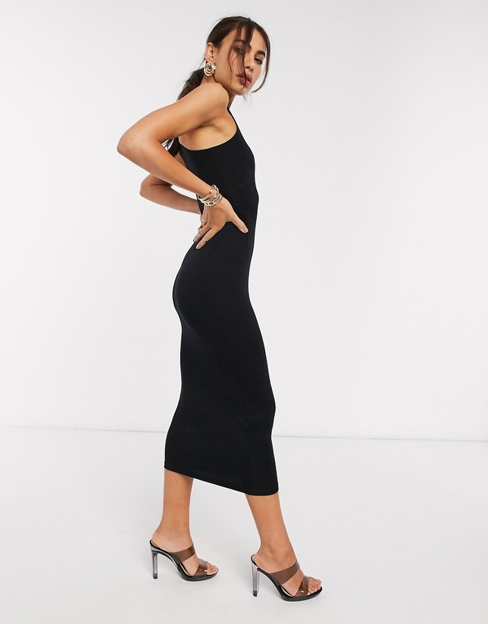 Asos DESIGN midi racer dress in black