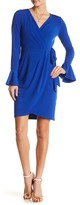 London Times Solid Bell Sleeve Wrap Dress