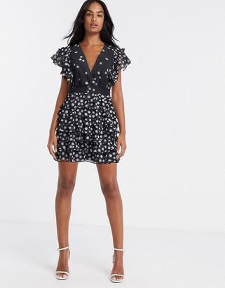 Talulah love shack tiered mini dress in mono
