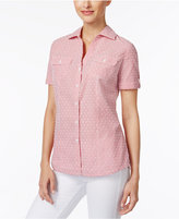 Karen Scott Petite Cotton Dobby Striped Shirt, Only at Macy's