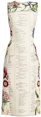 Oscar de la Renta Sleeveless Floral Script Sheath Dress
