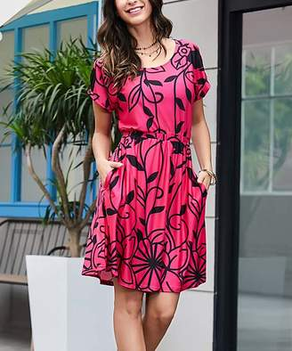 Reborn Collection Women's Casual Dresses Fuchsia - Fuchsia & Black Floral Roll-Tab Sleeve Tie-Waist Dress - Women & Plus