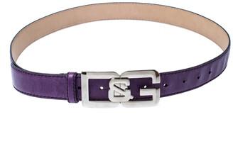 Dolce & Gabbana Purple Leather Buckle Logo Belt 95CM