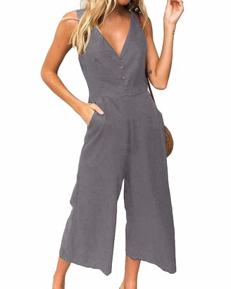 kenoce Women's Summer Casual Sleeveless Jumpsuit Retro Overalls V Neck Long/Short Jumpsuit Dungarees Rompers with Pockets/Buttons Grey L