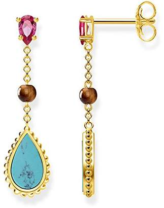Thomas Sabo Women earrings Riviera Colours 925 Sterling Silver; 18k Yellow Gold Plating H2008-492-7