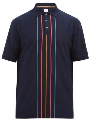 Paul Smith Artist-stripe Cotton-pique Polo Shirt - Mens - Navy