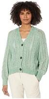 Cupcakes And Cashmere Athena Marled Yarn Cable Knit Cardigan (Shamrock) Women's Clothing