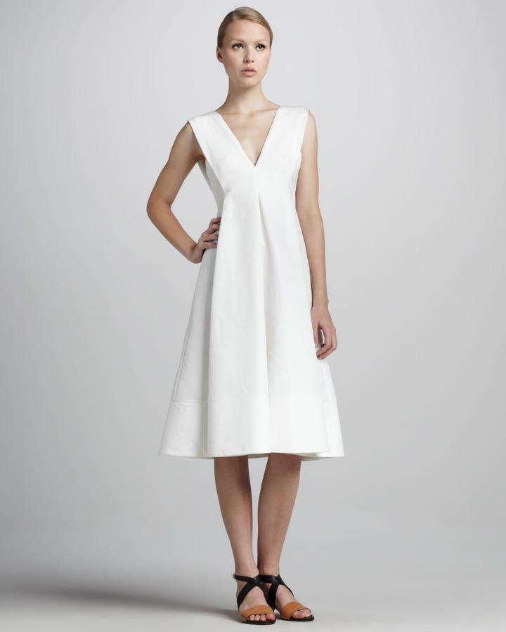 Marni Sleeveless V-Neck Cady Dress