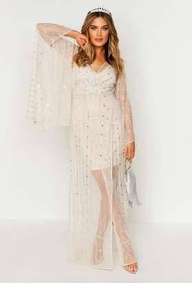 boohoo Premium Hand Embellished Kimono Sleeve Maxi Dress
