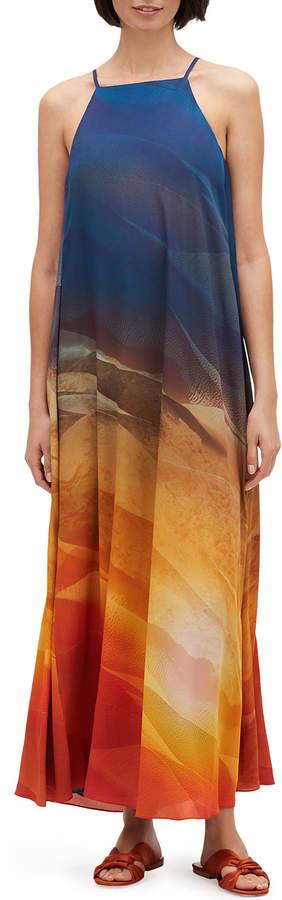 Lafayette 148 New York Leonissa Textured Desert High-Neck Sleeveless Maxi Dress