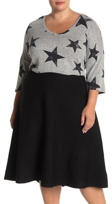 PREMISE STUDIO V-Neck Star Print High/Low Knit Sweater (Plus Size)