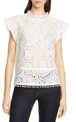 Nordstrom Signature Embroidered Flutter Sleeve Top