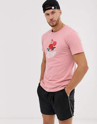 Hype floral print t-shirt-Pink