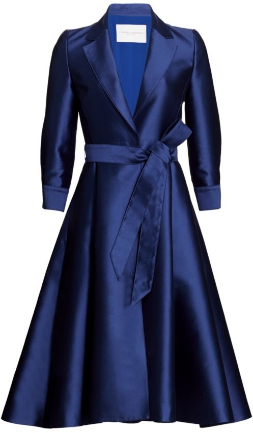 Carolina Herrera Belted Satin Cocktail Jacket Dress
