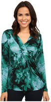 Adrianna Papell Printed V-Neck Long Sleeve Top Gathered AT Chest