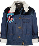 Miu Miu Embellished Velvet-paneled Denim Jacket - Mid denim