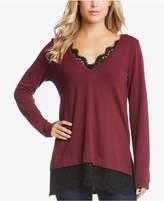 Karen Kane Long-Sleeve Lace-Contrast Sweater