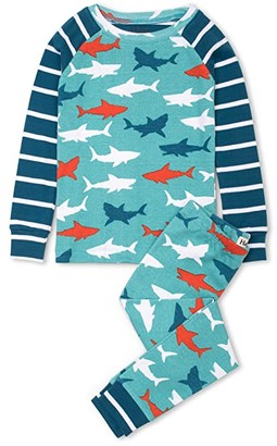 Hatley Great White Sharks Raglan PJ Set (Toddler/Little Kids/Big Kids) (Blue) Boy's Pajama Sets