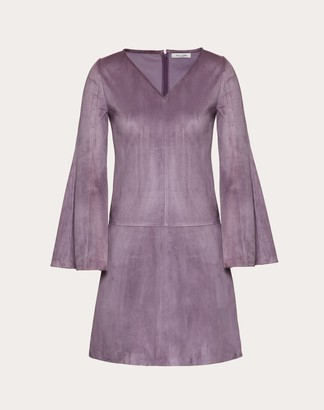 Valentino Suede Dress Women Violet Grey Sheepskin 100% 36