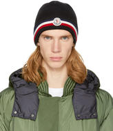 Moncler Black Wool Striped Beanie