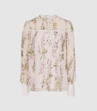 Reiss Marino Print - Floral Smock Blouse in Floral White