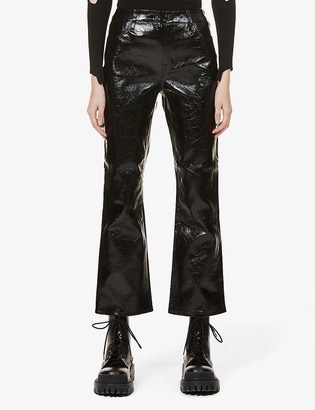 J Brand Franky crop flared high-rise patent leather jeans