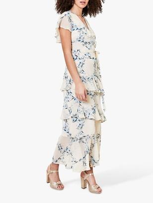 Oasis Floral Ruffle Dress, Blue/Multi