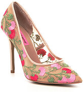 Betsey Johnson Johni Floral-Embroidered Mesh Pumps