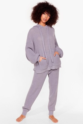 Nasty Gal Womens Knits Just Us Two Ribbed Hoodie and Jogger Set - Grey - S