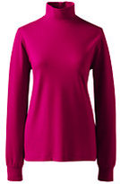 Lands' End Womens Petite Relaxed Cotton Mock-Raspberry Sorbet