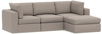 Pottery Barn PB Air Square Arm Slipcovered 4-Piece Sofa with Chaise Sectional