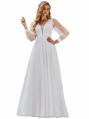 Ever Pretty Ever-Pretty Women's Elegant V Neck with Appliques Long Sleeves A Line Floor Length Tulle Wedding Dresses White 20UK