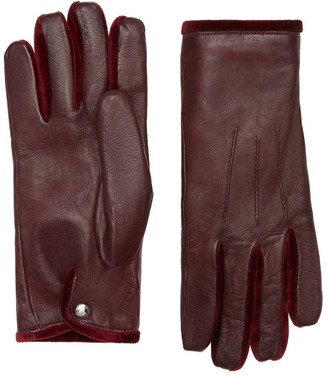Burberry Cashmere-lined Lambskin And Velvet Gloves