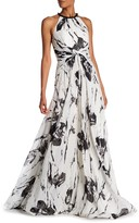 Carmen Marc Valvo Embellished Collar Floral Gown