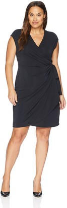 Lark & Ro Amazon Brand Women's Plus Size Classic Cap Sleeve Wrap Dress