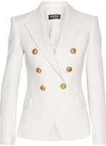 Balmain Double-breasted Basketweave Cotton Blazer - White