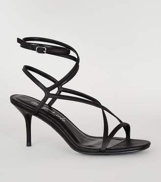 New Look Leather-Look Strappy Mid Stiletto Heels