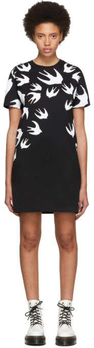McQ Black and White Swallow Signature T-Shirt Dress