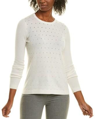 Forte Cashmere Crystal Trim Cashmere Sweater